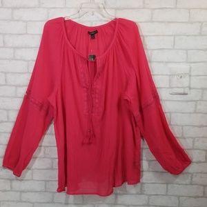 Lane Bryant gauze material pink blouse size 22/24